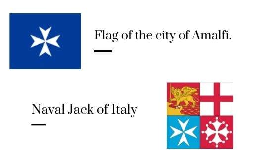 Flag of the city of Amalfi and Naval Jack of Italy.
