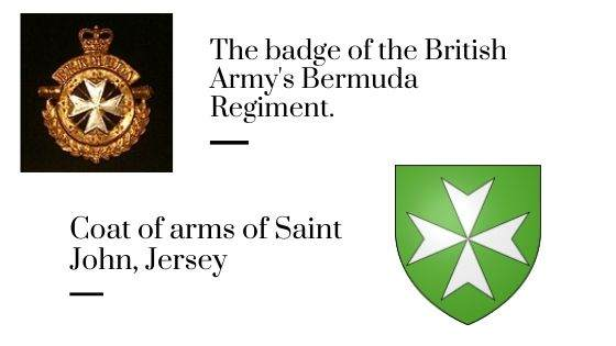 The badge of the British Army's Bermuda Regiment and Coat of arms of Saint John, Jersey