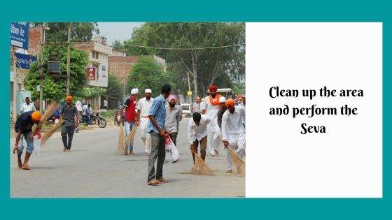 Clean up the area and perform the Seva