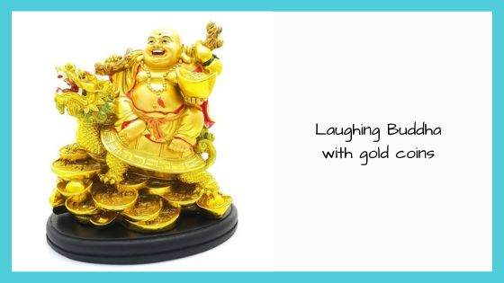 Laughing Buddha with gold coins