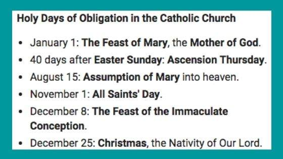 What are the Holy Days of Obligation as per Catholics