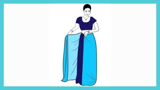 Making the pleats of the saree