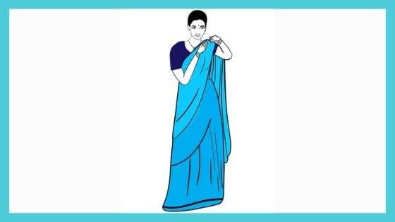 Pinning the pallu on the shoulder